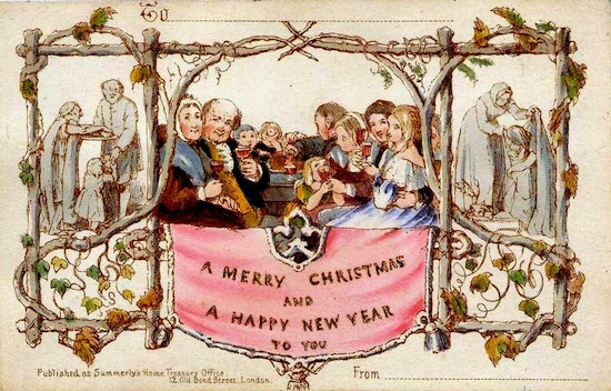 The first commercially produced Christmas Card (1843) - Credit: Wikipedia
