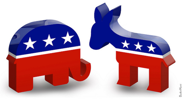Political Views - Creative Commons Republic Elephant & Democratic Donkey CC https://www.flickr.com/photos/donkeyhotey/
